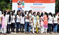 Young girls during the launch venue of the National Skill Development Mission, New Delhi, India on 15th July 2015. (Photo: Tribhuvan Tiwari/Outlook).
