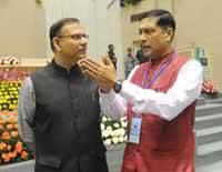 (left) Jayant Sinha, Minister of State for Finance with Chief Economic Adviser Arvind Subramanian during the Delhi Economics Conclave 2015, in New Delhi on 6th November 2015. (Photo: Tribhuvan Tiwari/Outlook).