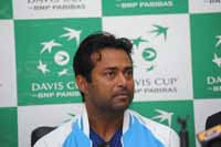 Indian Tennis player Leander Paes with teammates during a press conference in New Delhi, India on 13th September 2016. India plays Spain in the Davis Cup World Group play-offs in the national capital. (Photo: Jitender Gupta/Outlook).