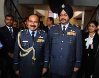 (left) Air Chief Marshal Arup Raha with the newly appointed Air Marshal BS Dhanoa after a press conference at Akash Officers' Mess in New Delhi, India on 28th December 2016. (Photo: Jitender Gupta/Outlook).