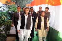 Congress vice president Rahul Gandhi with Ahmed Patel and other party leaders during a press conference at AICC headquarters in New Delhi, India on 28th December 2016. (Photo: Tribhuvan Tiwari/Outlook).