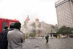 The Taj Hotel during the Terrorist attacks in Mumbai, India, on 26th November 2008. (Photo : Dinesh Parab)