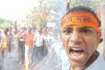 Activists of Vishwa Hindu Parishad (VHP) staged a mass protest in Jantar Mantar against the Muslims clergy for issuing fatwa, asking the Muslims not to sing India's national song Vande Mataram, in New Delhi on 6th November 2009. (Photo : Sanjay Rawat)